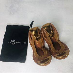 Yosi Samra Foldable Ballet Flats Brown Gold